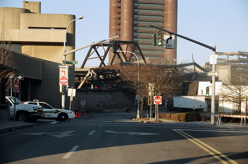 The New Haven Coliseum wreckage after the implosion.