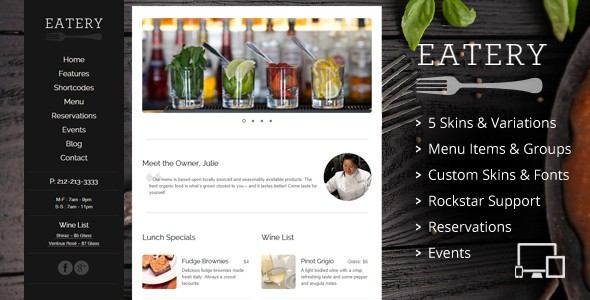 Eatery - Restaurant WordPress Theme