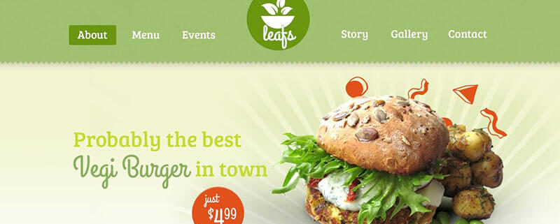 Leafs - Vegetarian WordPress Theme for Food Truck