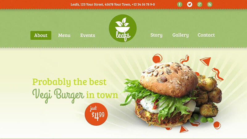 Leafs - Vegetarian WordPress Theme for Food Truck